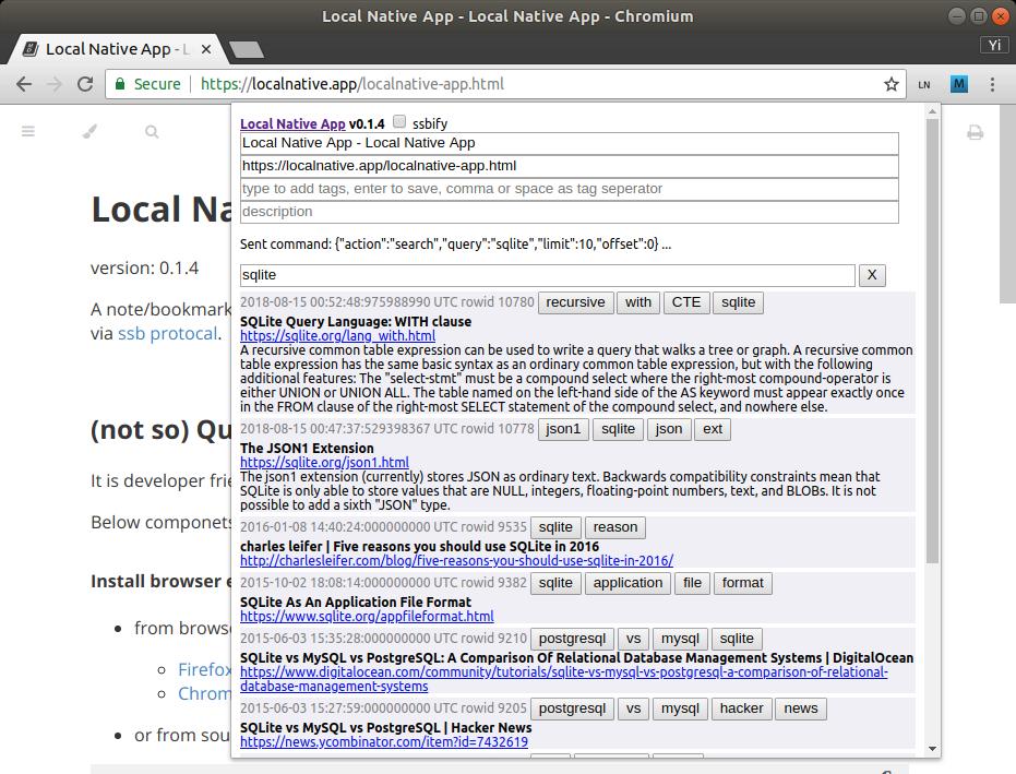 Local Native web extension popup screenshot